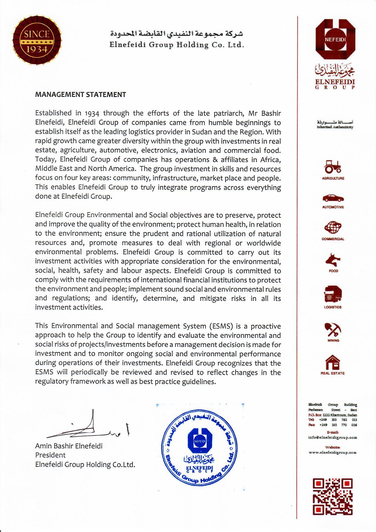 Elnefeidi Group Management Statement